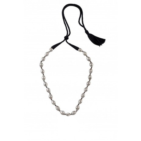 SINGLE STRAND DHOLKI BEAD SILVER NECKLACE
