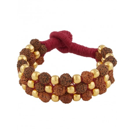 GOLD PLATED DHOLKI WITH RUDRAKSHA BRACELET