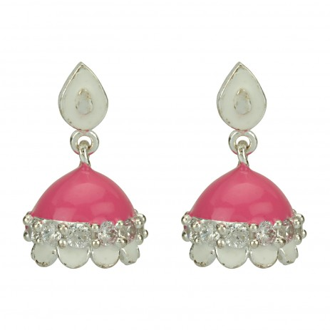 BUBBLEGUM PINK AND WHITE JHUMKI