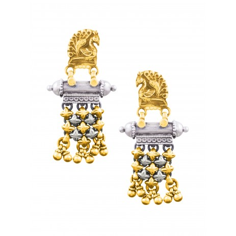 PEACOCK TAVEEZ DUAL GOLD PLATED EARRING
