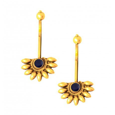 BLUE ONYX FLORAL GOLD PLATED EAR CUFF NON PIERCING