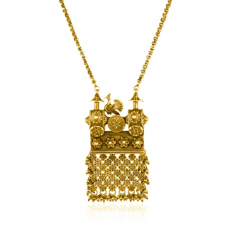 Peacock Chariot Floral Mesh Gold Plated Necklace