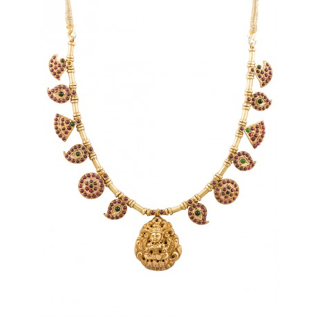 LAKSHMI RED TEMPLE HARAM NECKLACE
