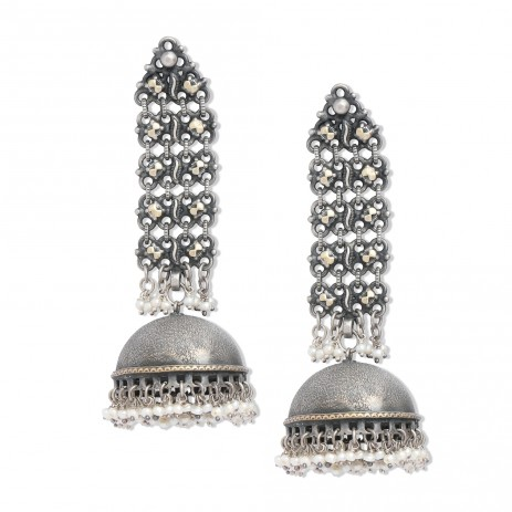 Chandelier Dual Plated Jhumki With Pearls