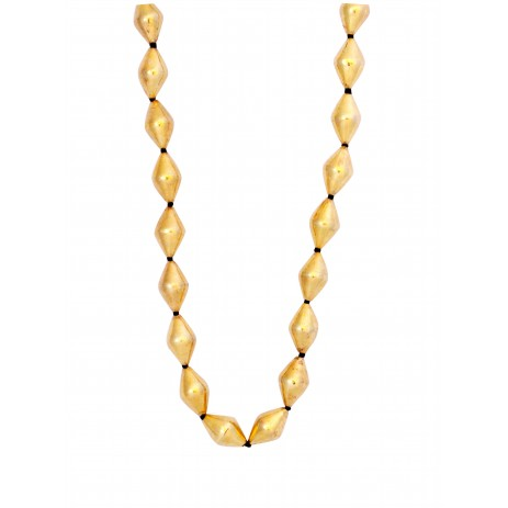 SINGLE STRAND DHOLKI BEAD GOLD NECKLACE
