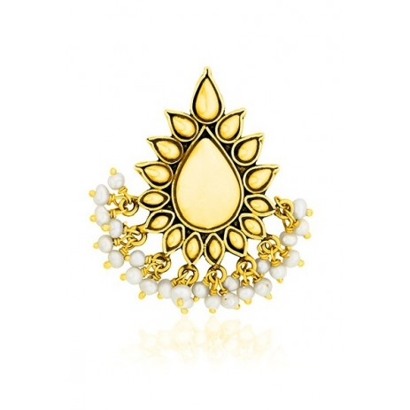 DEWDROP PEARL GOLD PLATED BROOCH