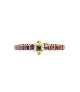 GOLD PLATED RUBY EMERALD TEMPLE KADA