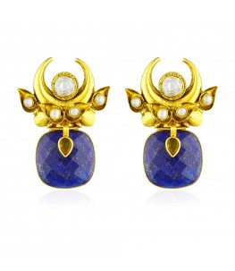 Lapis Lazuli Crescent Earrings
