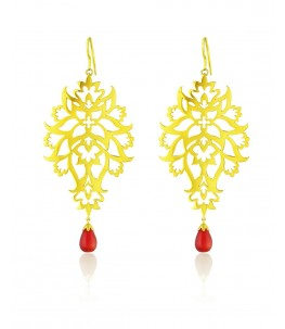 Gold Plated Flower And Leaf Pattern Byzantine Motifs Earrings