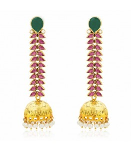 RED GEMSTONE VINE JHUMKI