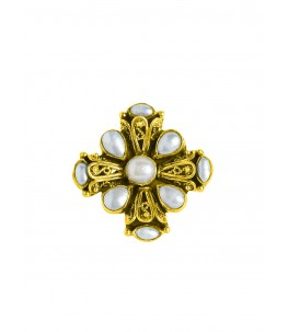 GOLD PLATED BAROQUE SEED PEARL ADJUSTABLE RING