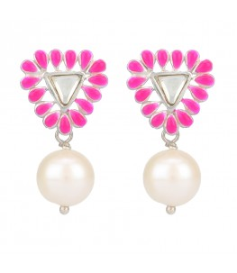 TRIANGULAR PINK ENAMEL STUD PEARL DROP EARRINGS