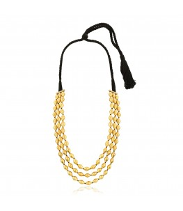 Trio Strand Dholki Bead Gold Necklace