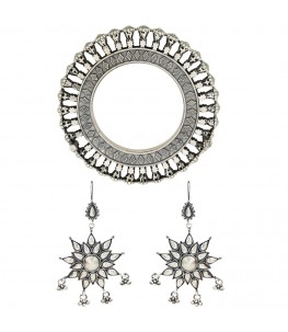 Ethnic Statement Silver Earring And Bangle Set