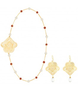 Paisley Coral And Pearl Jewellery Set